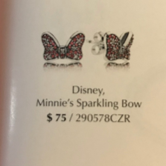 3fdbbe779 ... Sparkling Bow Disney Charm Pandora DISNEY Minnie Mouse bow earrings ...